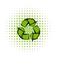 Green recycle symbol comics icon vector image