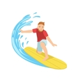 Guy Catching The Wave On Yellow Surfboard vector image vector image