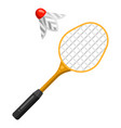 icon badminton racket and shuttlecock in flat vector image