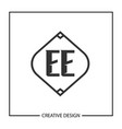 initial letter ee logo template design vector image