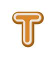 letter t gingerbread peppermint honey-cake font vector image vector image