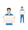 male nurse character wit board vector image vector image