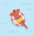 man lying on a rubber rings in a swimming pool vector image vector image