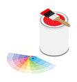 metal paint can with red paint paintbrush and vector image vector image