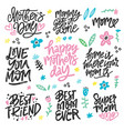 mothers day lettering set vector image