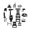 museum icons set simple style vector image vector image