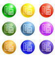 office paper icons set vector image