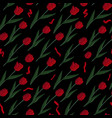 pattern with red tulips on black background vector image vector image