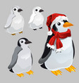 penguin in red scarf and hat in style new vector image vector image
