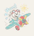 pilot bear cartoon vector image