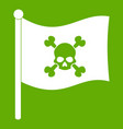 pirate flag icon green vector image vector image