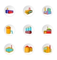 Production plant icons set cartoon style vector image vector image