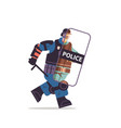 riot police officer running with shield and baton vector image vector image