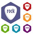 rock stone icons set hexagon vector image vector image