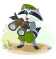 Scout raccoon with binoculars vector image vector image