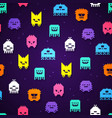 seamless retro game 8bit pixel monsters pattern vector image