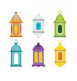 set of arabic lanterns colorful decorative vector image