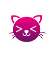 silhouette smile cat head cute animal vector image vector image