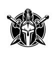 spartan helmet with swords vector image
