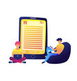 students reading e-book and huge tablet vector image vector image
