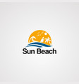 sun beach logo icon element and template for vector image