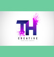 th t h purple letter logo design with liquid vector image vector image