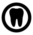 tooth icon black color in circle vector image vector image