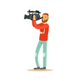 video operator looking through camcorder vector image vector image
