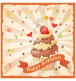 vintage banner with cake candy and strawberry vector image
