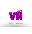 vn v n dots letter logo with purple bubbles vector image