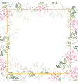 watercolor pink tiny flower branch with golden vector image vector image