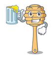 with juice honey spoon mascot cartoon vector image
