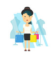 young hipster girl woman in hat shopping vector image vector image