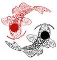 zentangle stylized hand drawn koi fish vector image vector image