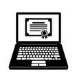 laptop and certificate icon vector image