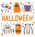 set of scary but cute halloween monsters vector image