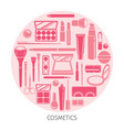 cosmetics icons set in circle frame vector image