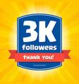 3000 followers thank you design card vector image vector image