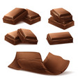 3d realistic brown chocolate bars pieces vector image vector image