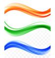 abstract elegant wavy lines set vector image vector image