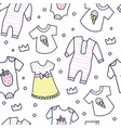 baby shower seamless pattern of baby girl clothes vector image vector image