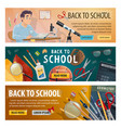back to school college student study lesson banner vector image