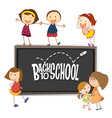 back to school template with doodle children vector image