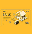 bank money isometric halftone vector image