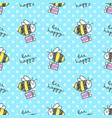 bee happy pattern vector image vector image