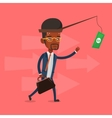 Businessman trying to catch money on fishing rod vector image vector image