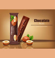chocolate bar with nuts realistic product vector image vector image