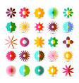 colorful flowers set flower symbol isolated on vector image vector image