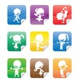 colorful glossy stickers with happy kids silhouett vector image vector image