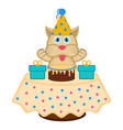 cute cat with a party hat a cake and presents vector image